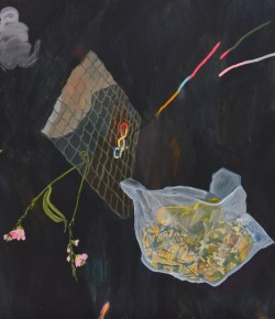 Melo's Things I, 2013, Oil and graphite on canvas, 64 x 72 inches